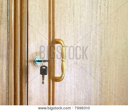 Wooden cupboard with keys