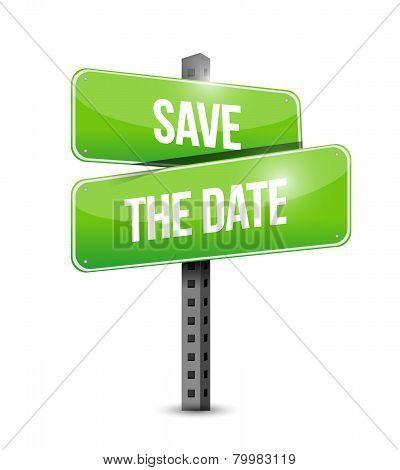 Save The Date Road Sign Illustration Design