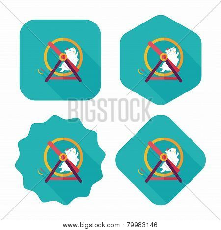 Pet Mouse Exercise Wheel Flat Icon With Long Shadow