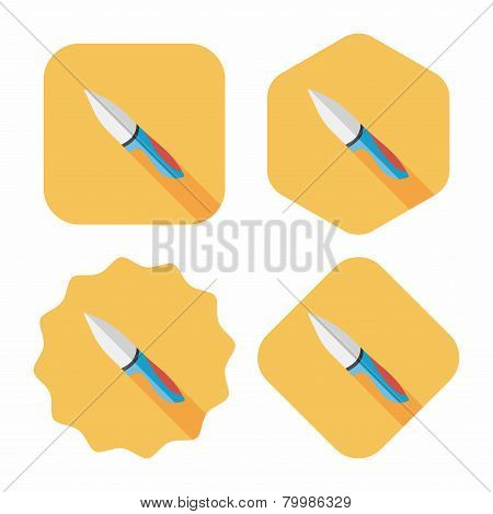 Kitchenware Fruit Knife Flat Icon With Long Shadow,eps10