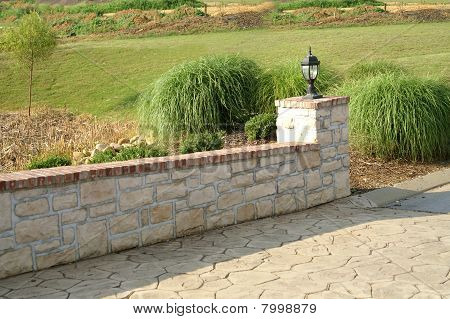 Stone wall and path