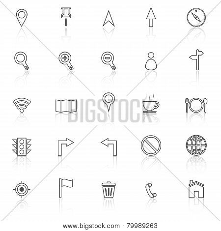 Map Line Icons With Reflect On White Background