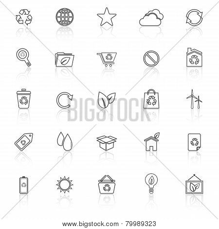 Ecology Line Icons With Reflect On White Background
