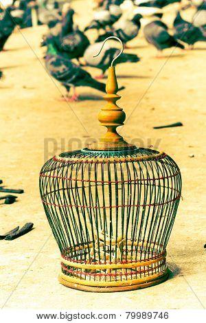 Villagers handmade birdcage. Bangkok, Thailand