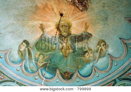 Fresco in First-Nicolas chirch. (Kaga, Bashkortostan)