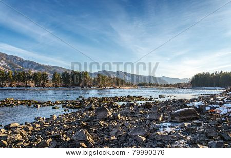 Yenisey River. Shore.