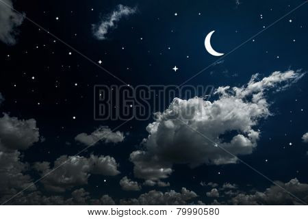 backgrounds night sky with stars and moon and beautiful clouds