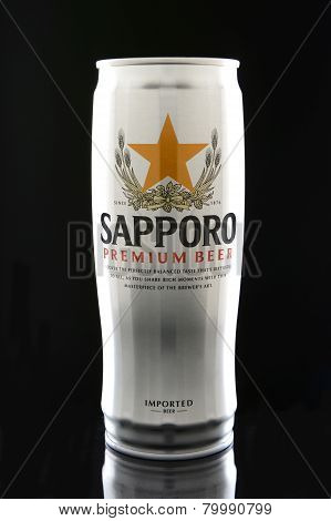 Sapporo Beer Can On Black