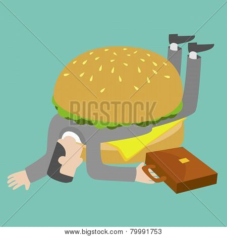 Businessman who get trapped by burger