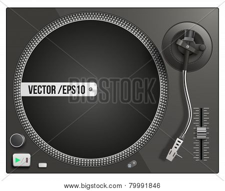 Vector illustration of modern black turntable