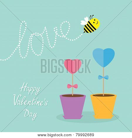 Heart Stick Flower In The Pot And Bee With Dash Line Word Love. Flat Design. Happy Valentines Day