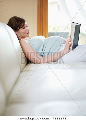 Pregnant Woman Reading Book At Home
