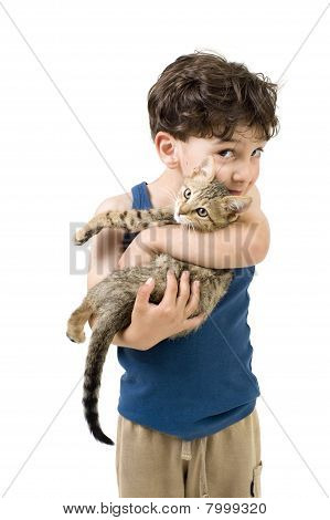 Young Boy Holding Kitten