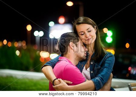 Couple dating at night