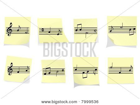 Abstract illustration of some yellow notes with stave