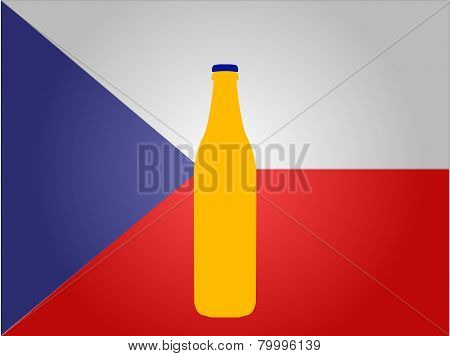 Czech Flag With A Bottle Of Beer