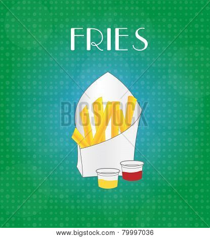 Food Menu Fries With Green & Blue Background