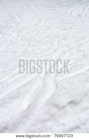 Ski Runs And Paths In Snow In Winter