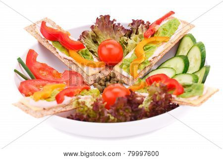 Crackers With Fresh Vegetables And Cheese