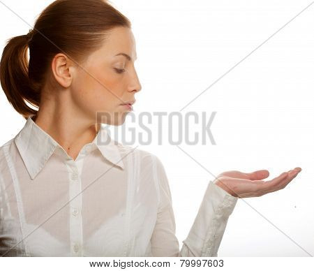 business woman showing blank area for sign