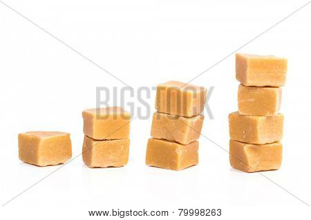 Sweet caramel candy on a white background
