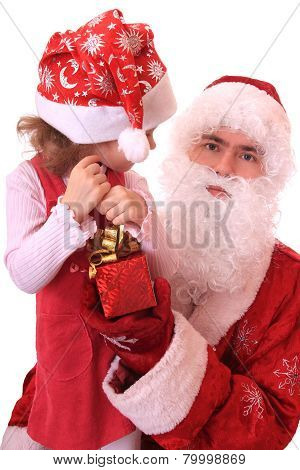 Santa Claus and dwarf with a gift.