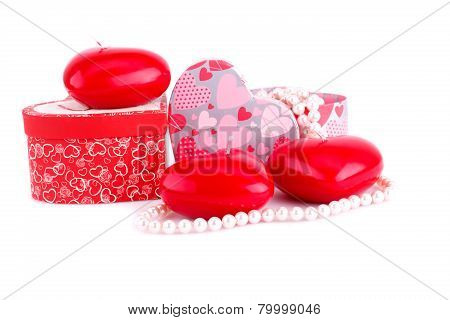 Red Heart Candles, Necklaces And Gift Boxes