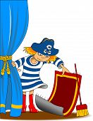 picture of pirate girl  - girl dressed as a pirate cleans his room vector - JPG