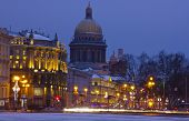 stock photo of winter palace  - panorama of St. Petersburg, winter city, the Palace square, the dawn in St. Petersburg