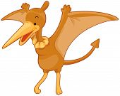 image of pterodactyl  - An Illustration of a Cute Pterodactyl with Clipping Path - JPG