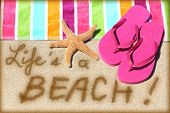 stock photo of summer beach  - Beach travel fun sign - JPG