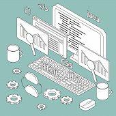 image of isometric  - Isometric illustration on programming theme for your design - JPG
