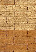 picture of tile cladding  - Wall with sample ceramic facing tiles in sunny day - JPG