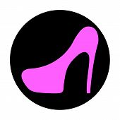 picture of black heel  - Icon flat shoe with heels on a black background vector illustration - JPG