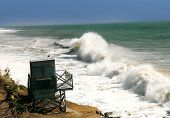 foto of pch  - Waves hitting the beach in California