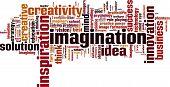 foto of cloud formation  - Imagination word cloud concept - JPG