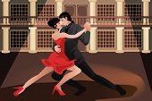 image of tango  - A vector illustration of young couple dancing tango - JPG