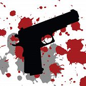picture of serial killer  - Background with gun gun and blood spots - JPG