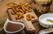 pic of churros  - Churros with chocolate dip  - JPG