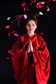 image of geisha  - The girl in native costume of japanese geisha - JPG