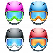 foto of goggles  - Set of Classic Ski helmets and snowboard goggles - JPG