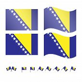 stock photo of luka  - Set of flags of Bosnia and Herzegovina eps 10 - JPG