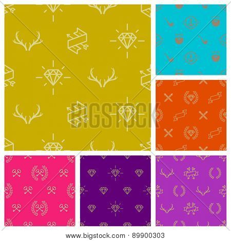 Set of hipster style seamless vector background