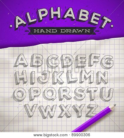 Hand drawn sketch font on a school squared notebook paper. vector illustration