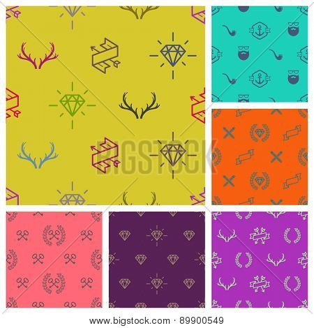 Set of hipster style seamless background. vector illustration