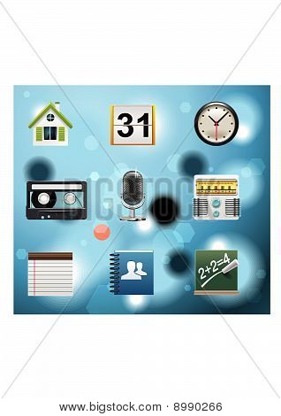 Typical mobile phone apps and services icons
