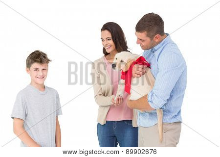 Happy mother and father gifting puppy to boy against white background