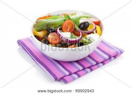 Fresh healty salad bowl. Isolated on white background
