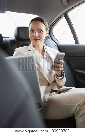 Pretty businesswoman working in the back seat in her car