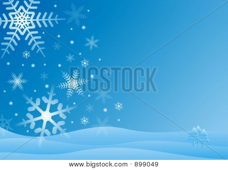 Blue And White Winter Scene